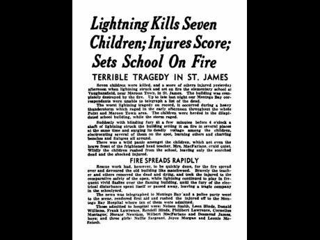 An August 26, 1943, 'Daily Gleaner' report on the St James lightning tragedy.