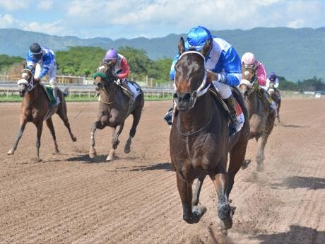 WOW WOW wins the Supreme Venture 2-year-old stakes with Ameth Robles aboard ahead of Tomohawk  and Money Monster at Caymanas Park earlier this year.