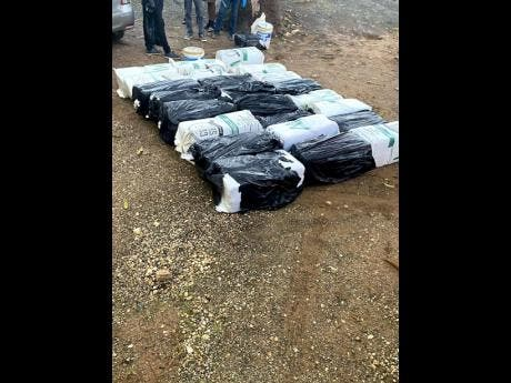 The compressed ganja seized in the vehicle being driven by the soldiers.