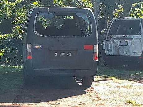 This Jamaica Defence Force service vehicle was damaged during the shootout.