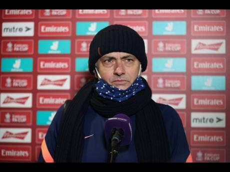 Tottenham's manager, José Mourinho, answers questions during an interview after his team's 5-0 win in the English FA Cup third-round match against Marine  at Rossett Park stadium in Crosby, Liverpool, on  January 10.