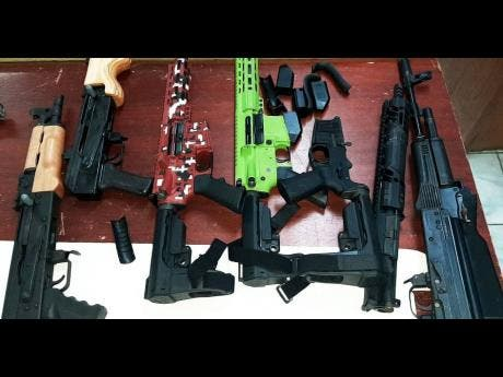 The assault rifles that were seized on Monday evening.