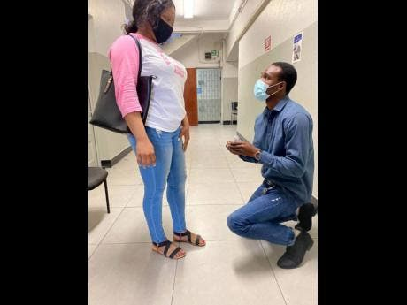 After leaving the courtroom, Andre Chantiloupe got down on one knee and asked his common-law wife of 14-years, Neisha Morrison, for her hand in marriage.