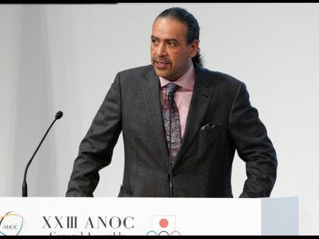 In this Wednesday, November 28, 2018 file photo, Sheikh Ahmad al Fahad al Sabah, president of the Association of National Olympic Committees (ANOC) delivers a speech during the ANOC general assembly in Tokyo.