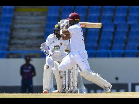 West Indies opener John Campbell plays during his inning of 42 runs against Sri Lanka on March 21, 2021.