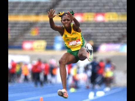 St Jago's Shantae Foreman leapt to victory in the Class One long Jump competition at the ISSA/GraceKennedy Boys and Girls' Athletics Championships inside the National Stadium on Saturday, May 15, 2021.