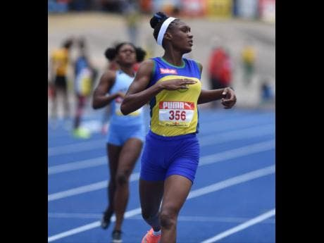 Rusea's High School's Aalliyah Francis at the ISSA/GraceKennedy Boys and Girls' Athletics Championships at the National Stadium on Saturday.