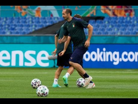 Italy's Giorgio Chiellini plays the ball during a training session at the Olympic stadium in Rome yesterday.