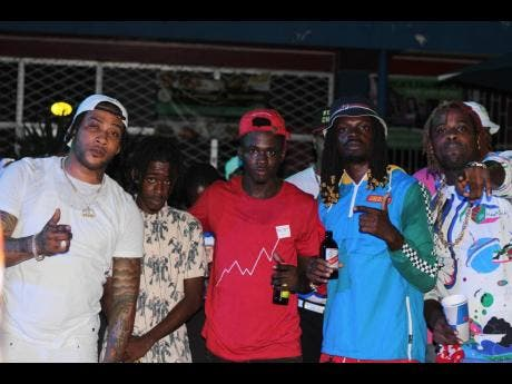 From left: Entertainers Marvin the Beast, Pata Skeng, Coote Boss, Gabbidon and Energy were happy to be out and about.