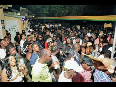A section of the crowd at Weddy Weddy, held at Stone Love's headquarters on Burlington Avenue in St Andrew.
