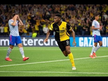 Young Boys' Jordan Siebatcheu  celebrates after scoring during the Champions League Group F  match against Manchester United at the Wankdorf stadium in Bern, Switzerland, yesterday. Young Boys won 2-1.