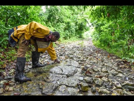 Ernest Williams points to the poor state of the roadway in the disappearing village of Stony Gut.