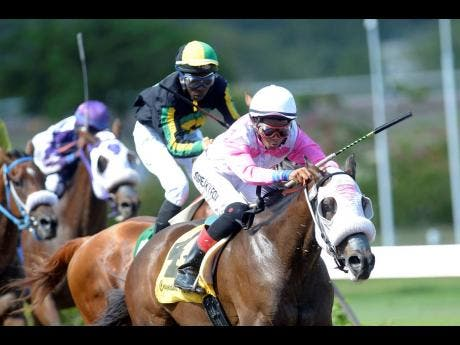 File photo shows Raddesh Roman guiding RICKY RICARDO to victory over 1400 metres at Caymanas Park on Saturday, August 24, 2019. Roman is set to ride again at Caymanas following an injury setback.